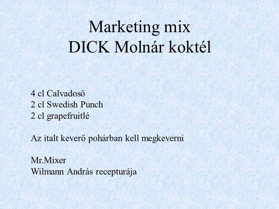 Marketing mix 4P Termékpolitika(PRODUCT) Árpolitika (PRICE)Árpolitika (PRICE) Disztribúció (PLACE) Piacbefolyásolás (PROMOTION)