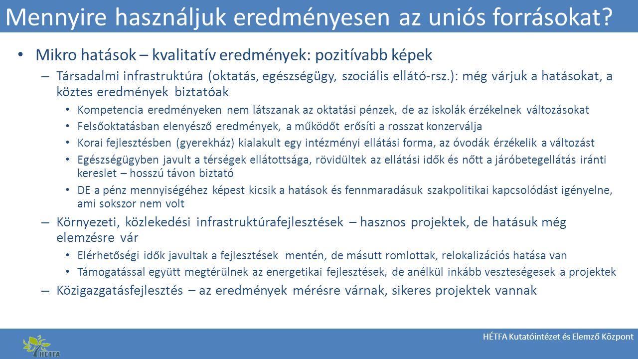 HÉTFA Kutatóintézet és Elemző Központ Mennyire használjuk eredményesen az uniós forrásokat.