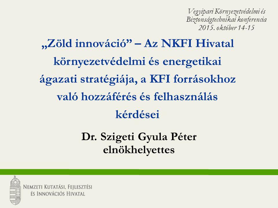 """""""Zöld innováció – Az NKFI Hivatal környezetvédelmi és energetikai ágazati stratégiája, a KFI forrásokhoz való hozzáférés és felhasználás kérdései Dr."""