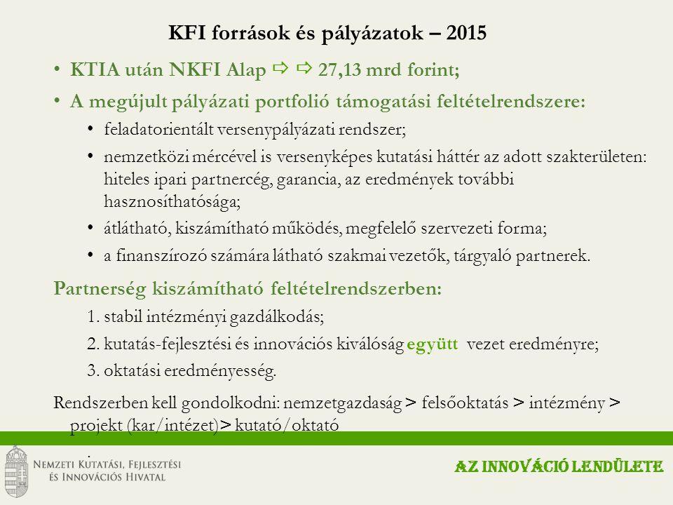 KFI források és pályázatok – 2015 KTIA után NKFI Alap   27,13 mrd forint; A megújult pályázati portfolió támogatási feltételrendszere: feladatorientált versenypályázati rendszer; nemzetközi mércével is versenyképes kutatási háttér az adott szakterületen: hiteles ipari partnercég, garancia, az eredmények további hasznosíthatósága; átlátható, kiszámítható működés, megfelelő szervezeti forma; a finanszírozó számára látható szakmai vezetők, tárgyaló partnerek.