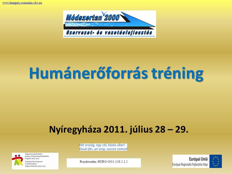 Projektsz á m: HURO/0901/138/2.1.2 Humánerőforrás tréning Nyíregyháza 2011. július 28 – 29. www.hungary-romania-cbc.eu