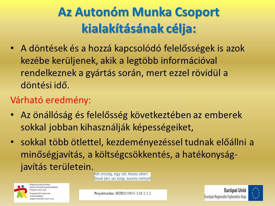 Az Autonóm Munka Csoport kialakításának célja: A döntések és a hozzá kapcsolódó felelősségek is azok kezébe kerüljenek, akik a legtöbb információval rendelkeznek a gyártás során, mert ezzel rövidül a döntési idő.