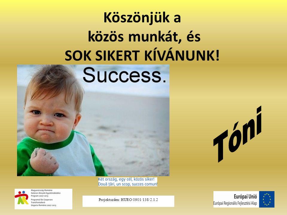Köszönjük a közös munkát, és SOK SIKERT KÍVÁNUNK! Projektsz á m: HURO/0901/138/2.1.2