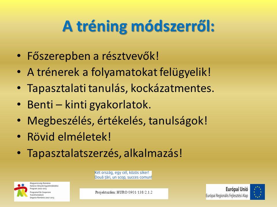 A tréning módszerről: Főszerepben a résztvevők! A trénerek a folyamatokat felügyelik! Tapasztalati tanulás, kockázatmentes. Benti – kinti gyakorlatok.