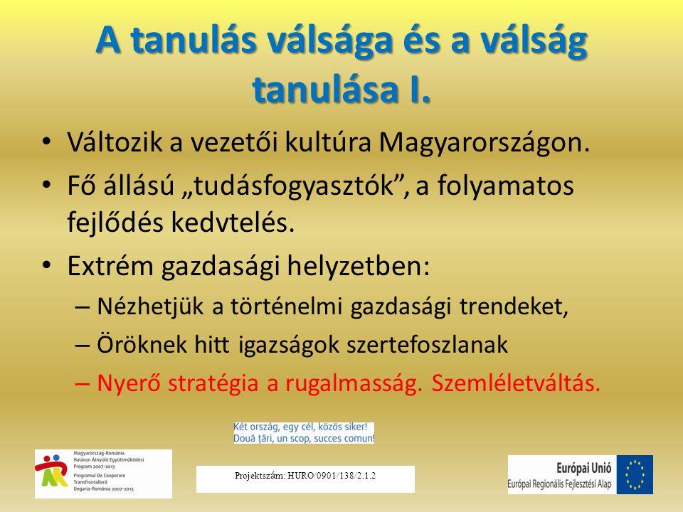 """A tanulás válsága és a válság tanulása I. Változik a vezetői kultúra Magyarországon. Fő állású """"tudásfogyasztók"""", a folyamatos fejlődés kedvtelés. Ext"""