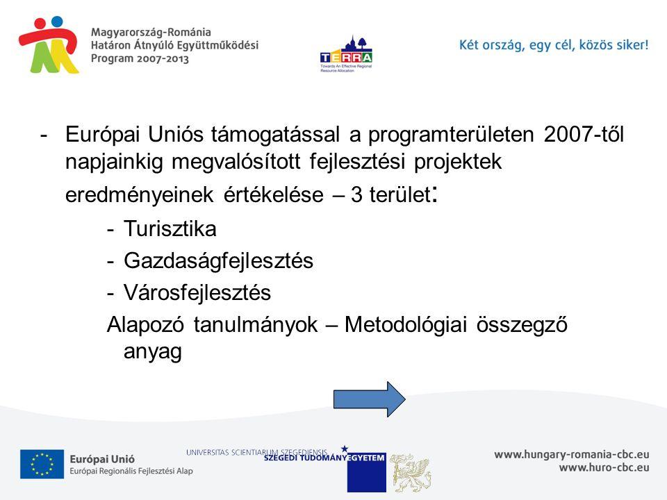 -Európai Uniós támogatással a programterületen 2007-től napjainkig megvalósított fejlesztési projektek eredményeinek értékelése – 3 terület : -Turisztika -Gazdaságfejlesztés -Városfejlesztés Alapozó tanulmányok – Metodológiai összegző anyag