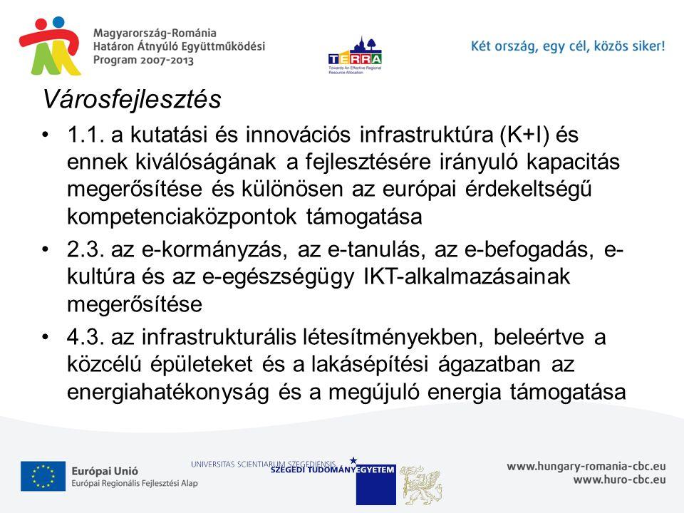 Városfejlesztés 1.1. a kutatási és innovációs infrastruktúra (K+I) és ennek kiválóságának a fejlesztésére irányuló kapacitás megerősítése és különösen