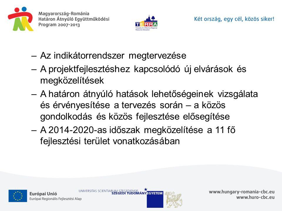 –Az indikátorrendszer megtervezése –A projektfejlesztéshez kapcsolódó új elvárások és megközelítések –A határon átnyúló hatások lehetőségeinek vizsgálata és érvényesítése a tervezés során – a közös gondolkodás és közös fejlesztése elősegítése –A 2014-2020-as időszak megközelítése a 11 fő fejlesztési terület vonatkozásában