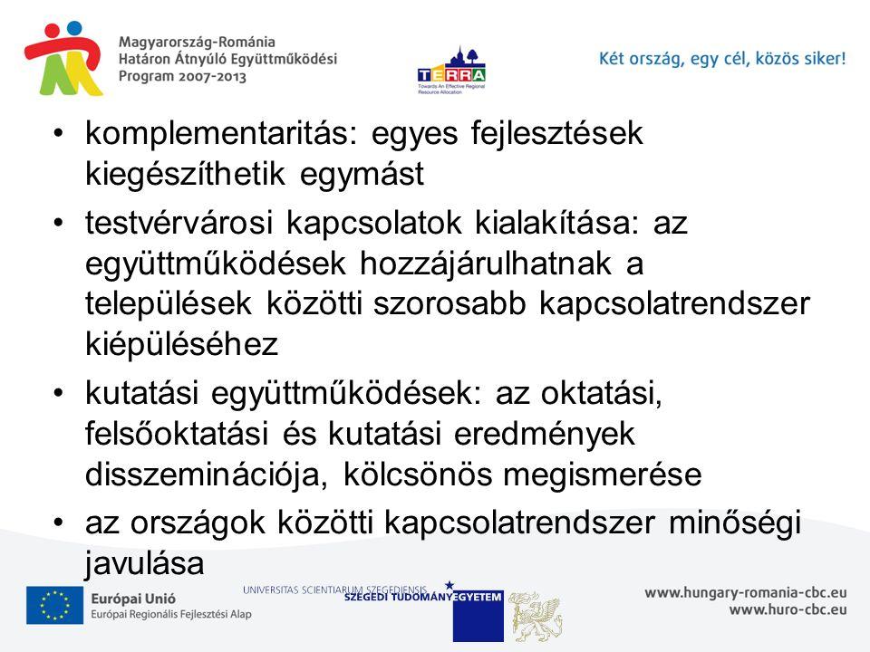 komplementaritás: egyes fejlesztések kiegészíthetik egymást testvérvárosi kapcsolatok kialakítása: az együttműködések hozzájárulhatnak a települések k