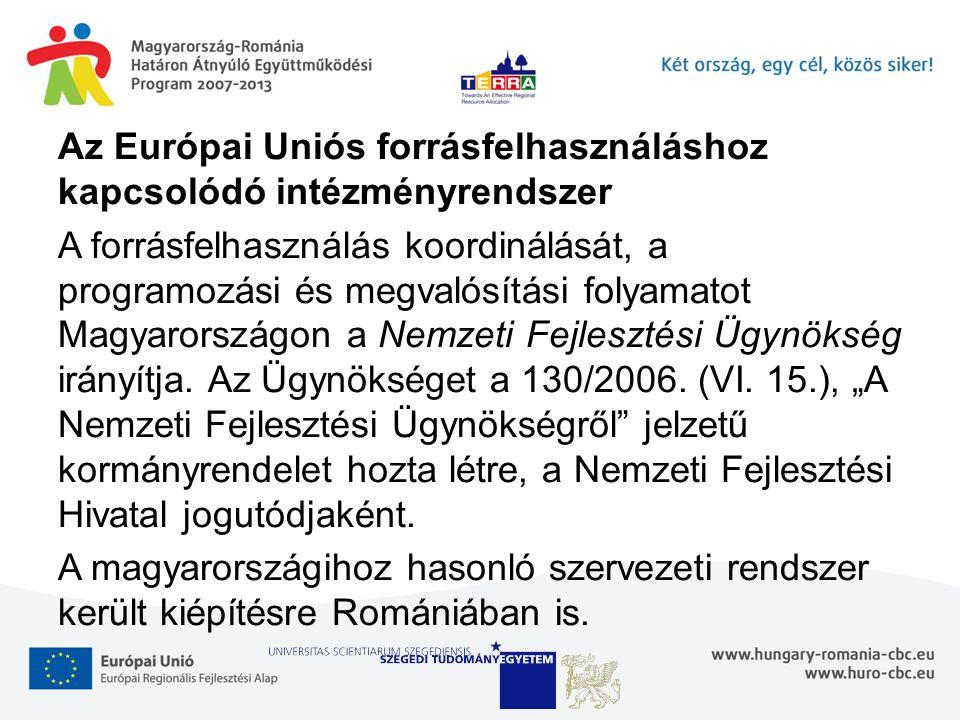 Az Európai Uniós forrásfelhasználáshoz kapcsolódó intézményrendszer A forrásfelhasználás koordinálását, a programozási és megvalósítási folyamatot Magyarországon a Nemzeti Fejlesztési Ügynökség irányítja.