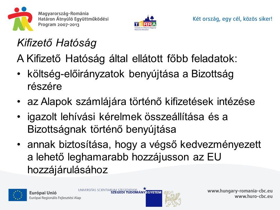 Kifizető Hatóság A Kifizető Hatóság által ellátott főbb feladatok: költség-előirányzatok benyújtása a Bizottság részére az Alapok számlájára történő kifizetések intézése igazolt lehívási kérelmek összeállítása és a Bizottságnak történő benyújtása annak biztosítása, hogy a végső kedvezményezett a lehető leghamarabb hozzájusson az EU hozzájárulásához