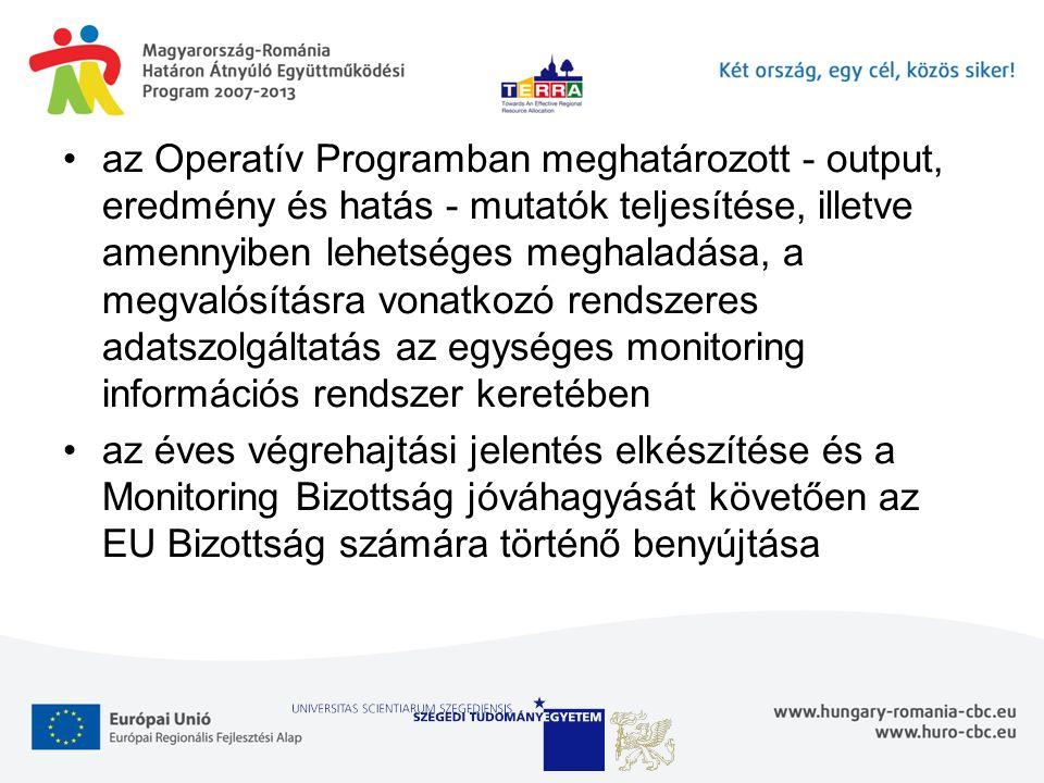 az Operatív Programban meghatározott - output, eredmény és hatás - mutatók teljesítése, illetve amennyiben lehetséges meghaladása, a megvalósításra vonatkozó rendszeres adatszolgáltatás az egységes monitoring információs rendszer keretében az éves végrehajtási jelentés elkészítése és a Monitoring Bizottság jóváhagyását követően az EU Bizottság számára történő benyújtása