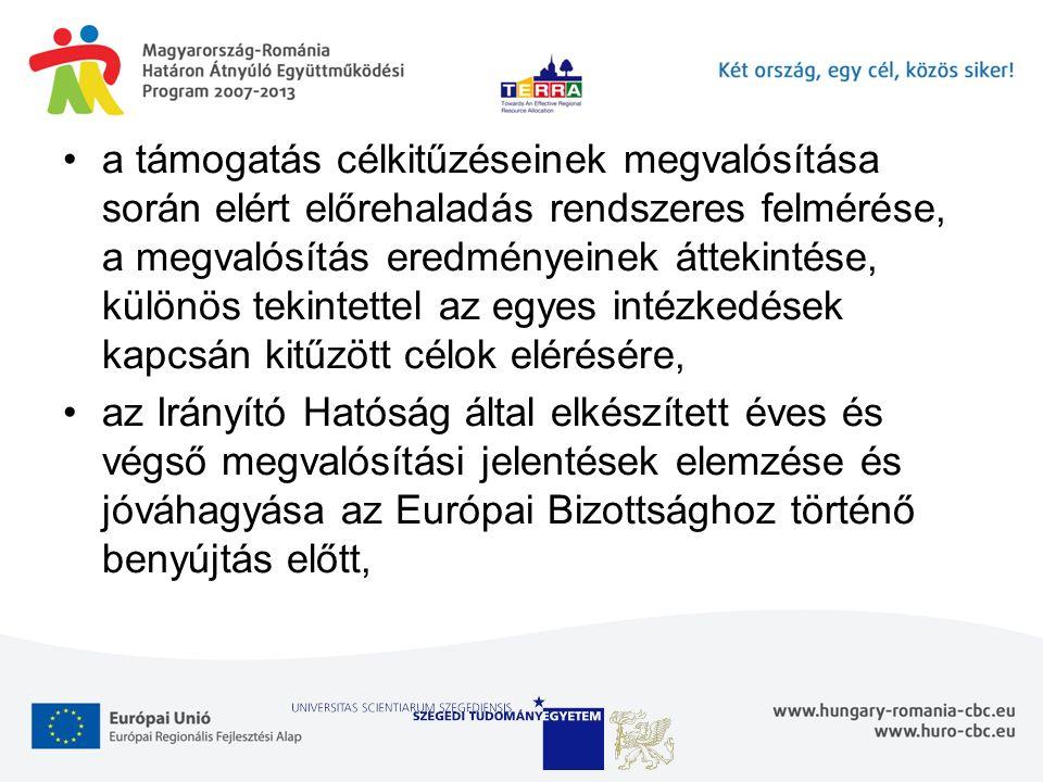 a támogatás célkitűzéseinek megvalósítása során elért előrehaladás rendszeres felmérése, a megvalósítás eredményeinek áttekintése, különös tekintettel az egyes intézkedések kapcsán kitűzött célok elérésére, az Irányító Hatóság által elkészített éves és végső megvalósítási jelentések elemzése és jóváhagyása az Európai Bizottsághoz történő benyújtás előtt,