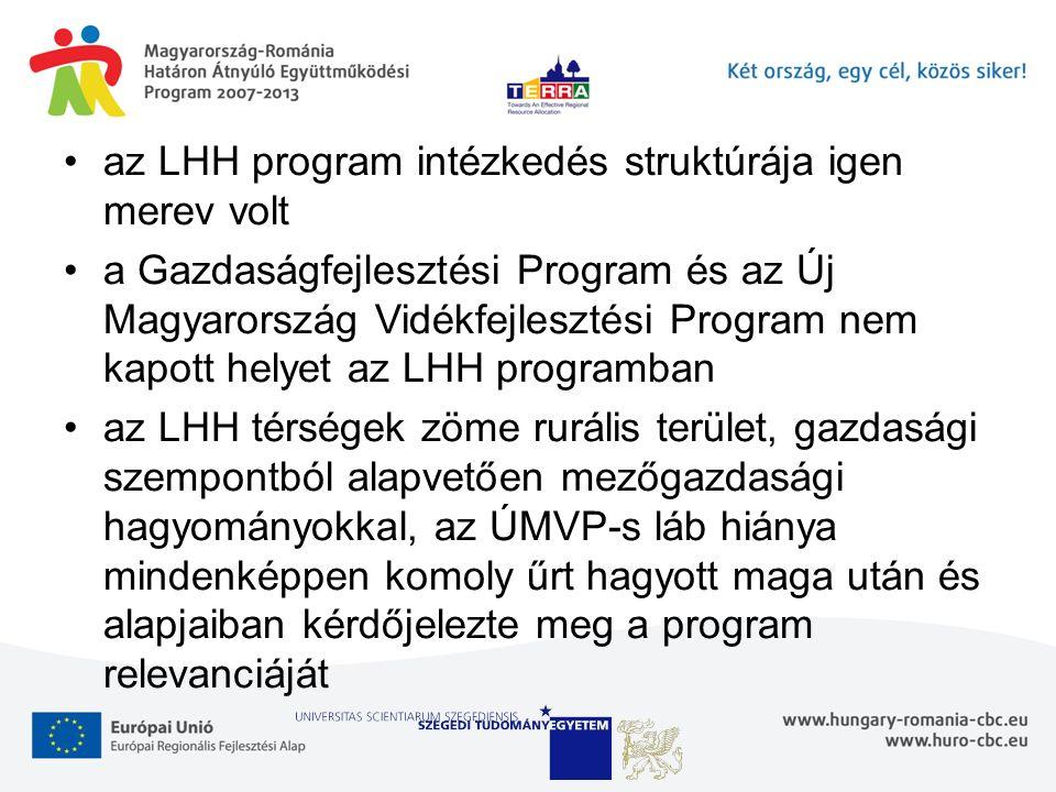 az LHH program intézkedés struktúrája igen merev volt a Gazdaságfejlesztési Program és az Új Magyarország Vidékfejlesztési Program nem kapott helyet az LHH programban az LHH térségek zöme rurális terület, gazdasági szempontból alapvetően mezőgazdasági hagyományokkal, az ÚMVP-s láb hiánya mindenképpen komoly űrt hagyott maga után és alapjaiban kérdőjelezte meg a program relevanciáját