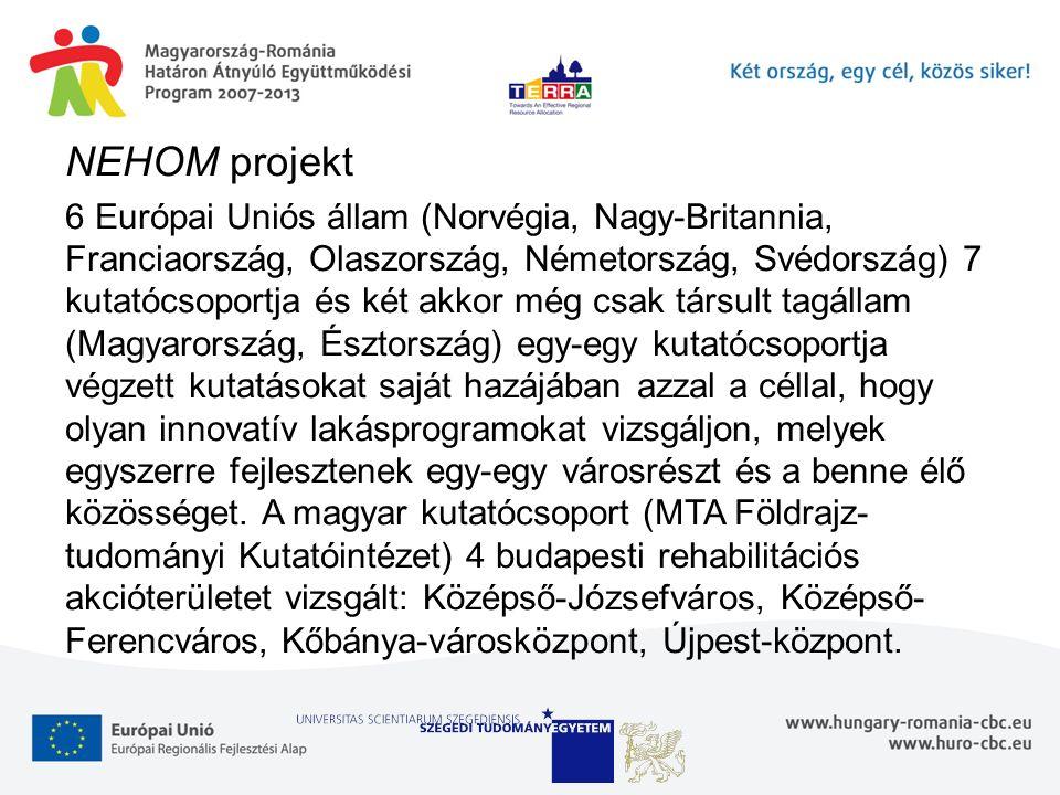 NEHOM projekt 6 Európai Uniós állam (Norvégia, Nagy-Britannia, Franciaország, Olaszország, Németország, Svédország) 7 kutatócsoportja és két akkor még csak társult tagállam (Magyarország, Észtország) egy-egy kutatócsoportja végzett kutatásokat saját hazájában azzal a céllal, hogy olyan innovatív lakásprogramokat vizsgáljon, melyek egyszerre fejlesztenek egy-egy városrészt és a benne élő közösséget.
