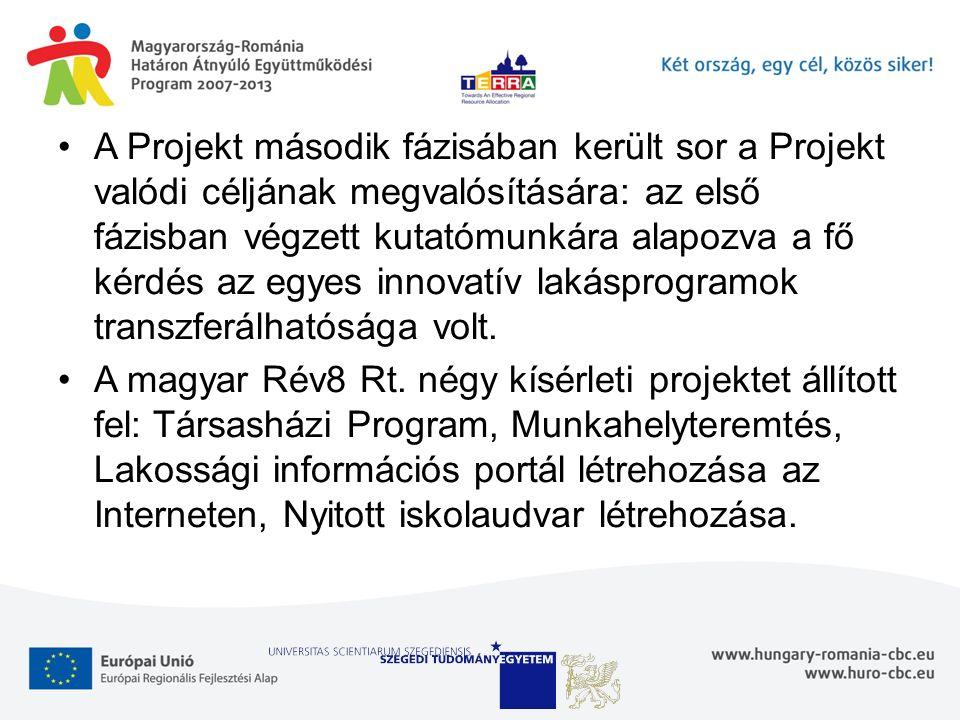 A Projekt második fázisában került sor a Projekt valódi céljának megvalósítására: az első fázisban végzett kutatómunkára alapozva a fő kérdés az egyes innovatív lakásprogramok transzferálhatósága volt.