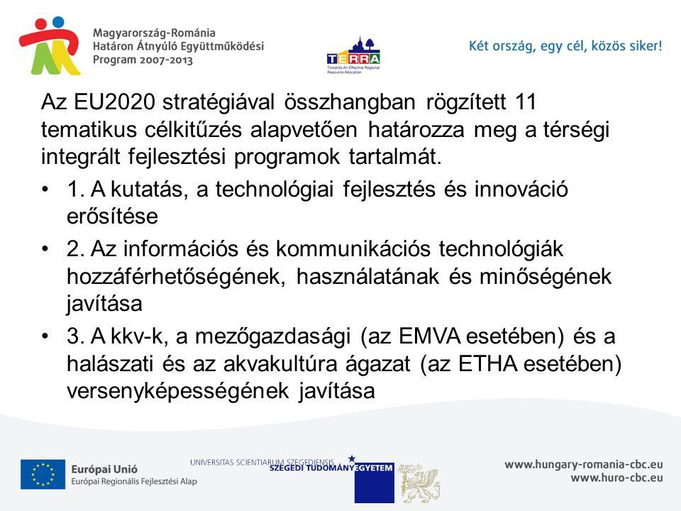 Az EU2020 stratégiával összhangban rögzített 11 tematikus célkitűzés alapvetően határozza meg a térségi integrált fejlesztési programok tartalmát. 1.