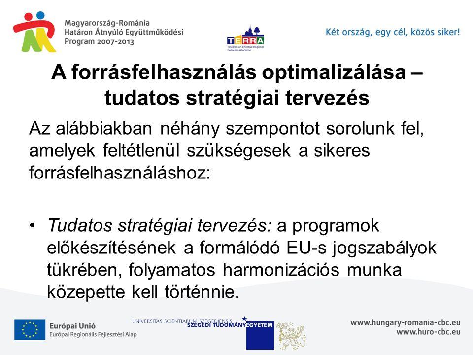 A forrásfelhasználás optimalizálása – tudatos stratégiai tervezés Az alábbiakban néhány szempontot sorolunk fel, amelyek feltétlenül szükségesek a sikeres forrásfelhasználáshoz: Tudatos stratégiai tervezés: a programok előkészítésének a formálódó EU-s jogszabályok tükrében, folyamatos harmonizációs munka közepette kell történnie.