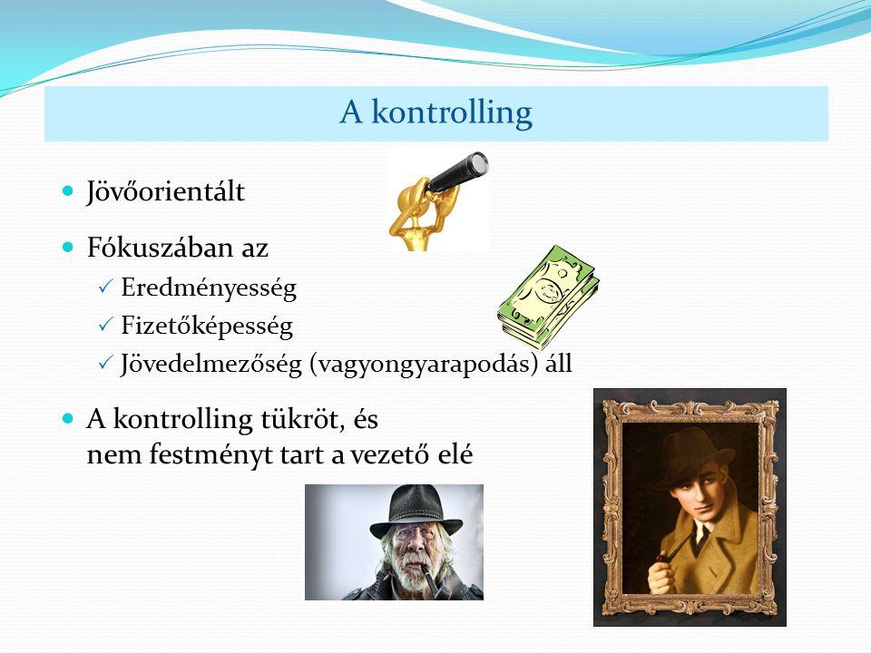 Jövőorientált Fókuszában az  Eredményesség  Fizetőképesség  Jövedelmezőség (vagyongyarapodás) áll A kontrolling tükröt, és nem festményt tart a vezető elé A kontrolling