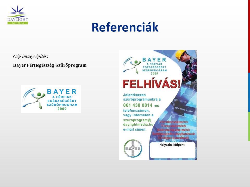 Referenciák Cég image építés: Bayer Férfiegészség Szűrőprogram