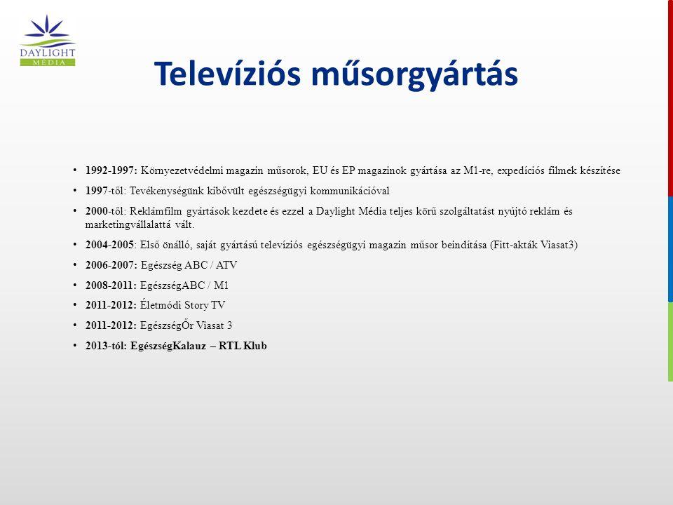 Televíziós műsorgyártás 1992-1997: Környezetvédelmi magazin műsorok, EU és EP magazinok gyártása az M1-re, expedíciós filmek készítése 1997-től: Tevékenységünk kibővült egészségügyi kommunikációval 2000-től: Reklámfilm gyártások kezdete és ezzel a Daylight Média teljes körű szolgáltatást nyújtó reklám és marketingvállalattá vált.