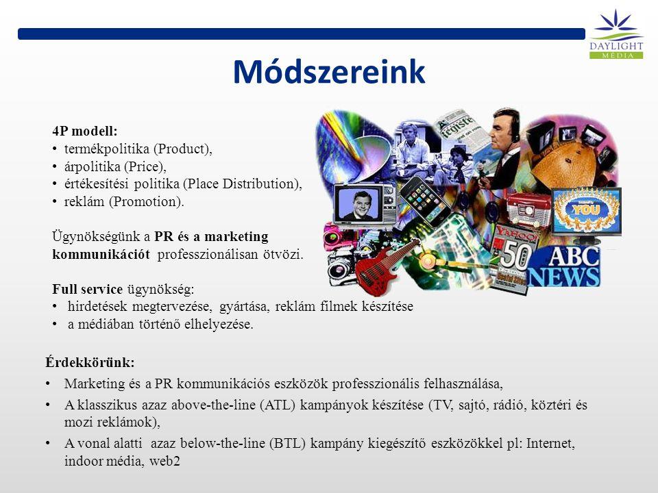 Módszereink 4P modell: termékpolitika (Product), árpolitika (Price), értékesítési politika (Place Distribution), reklám (Promotion).