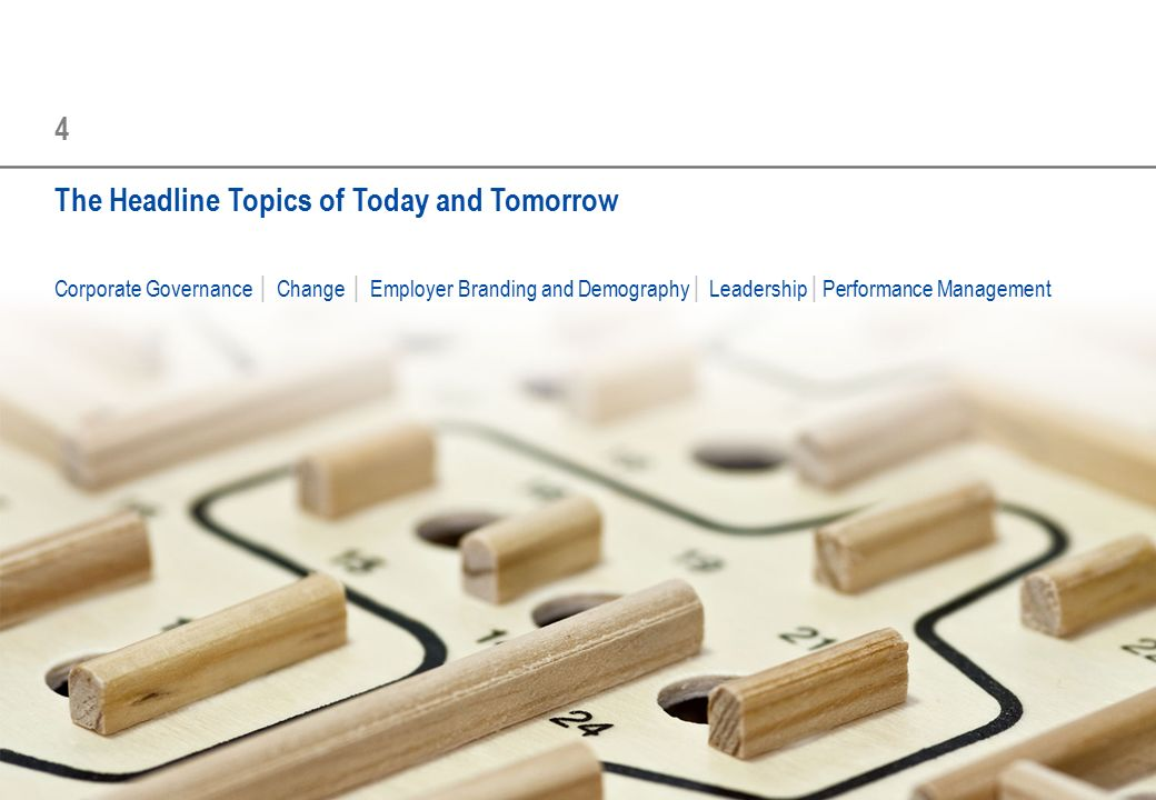 4 The Headline Topics of Today and Tomorrow Corporate Governance │ Change │ Employer Branding and Demography│ Leadership│Performance Management