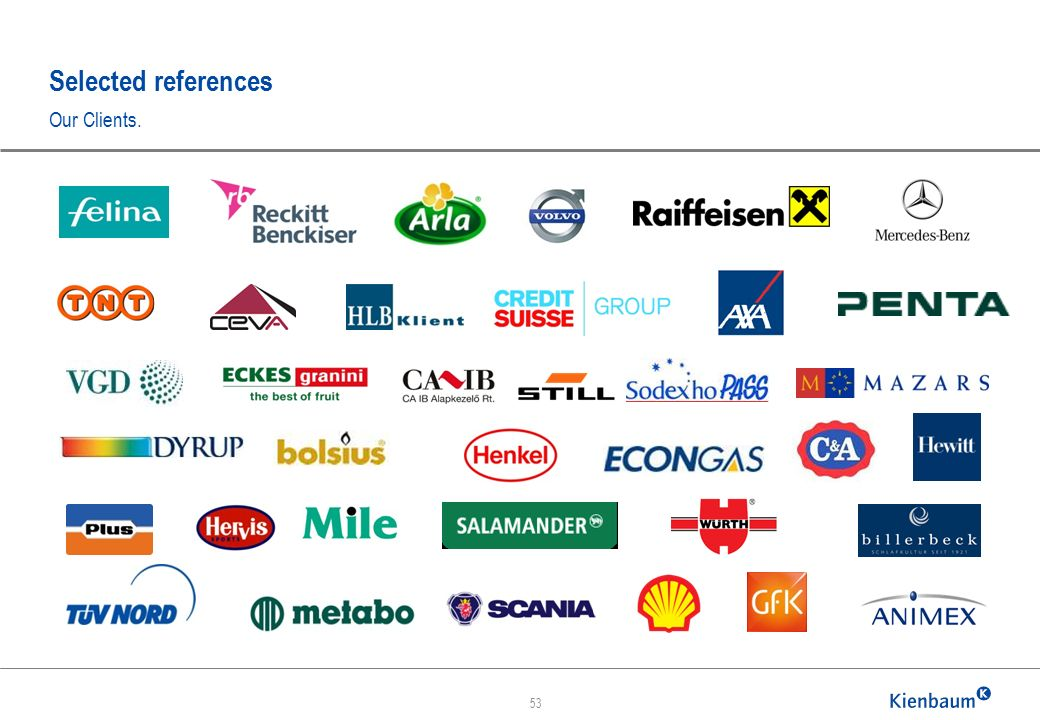 Selected references Our Clients. 53