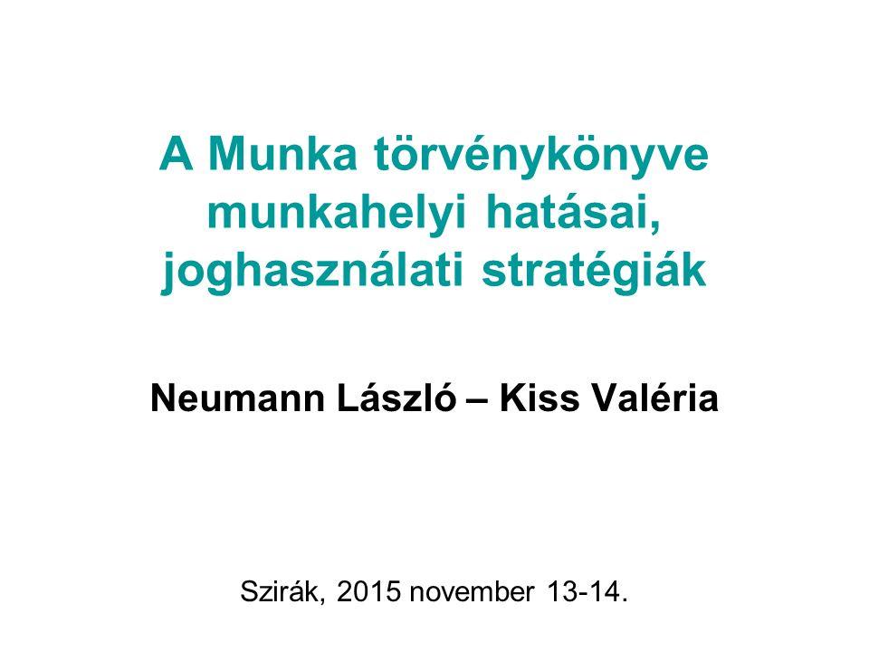 A Munka törvénykönyve munkahelyi hatásai, joghasználati stratégiák Neumann László – Kiss Valéria Szirák, 2015 november 13-14.