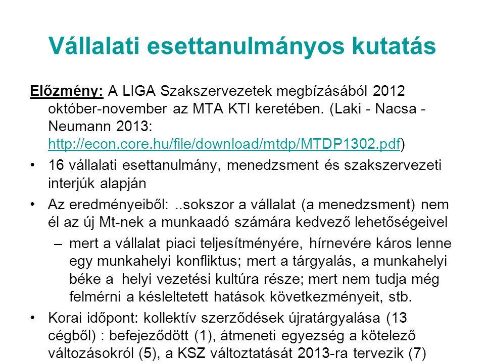 Vállalati esettanulmányos kutatás Előzmény: A LIGA Szakszervezetek megbízásából 2012 október-november az MTA KTI keretében.