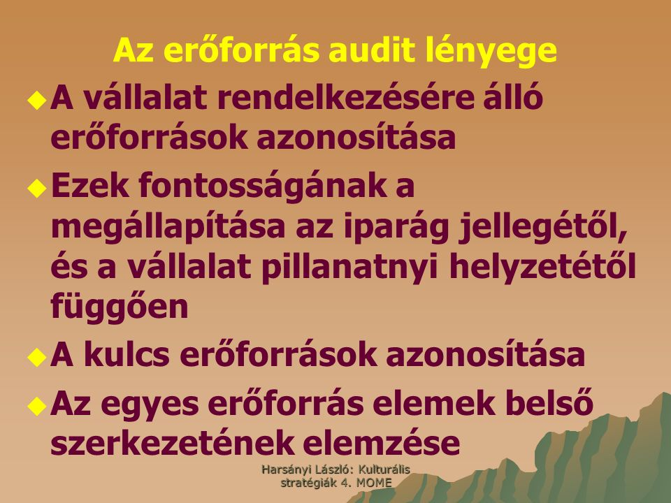 Harsányi László: Kulturális stratégiák 4. MOME Az erőforrás audit lényege   A vállalat rendelkezésére álló erőforrások azonosítása   Ezek fontossá