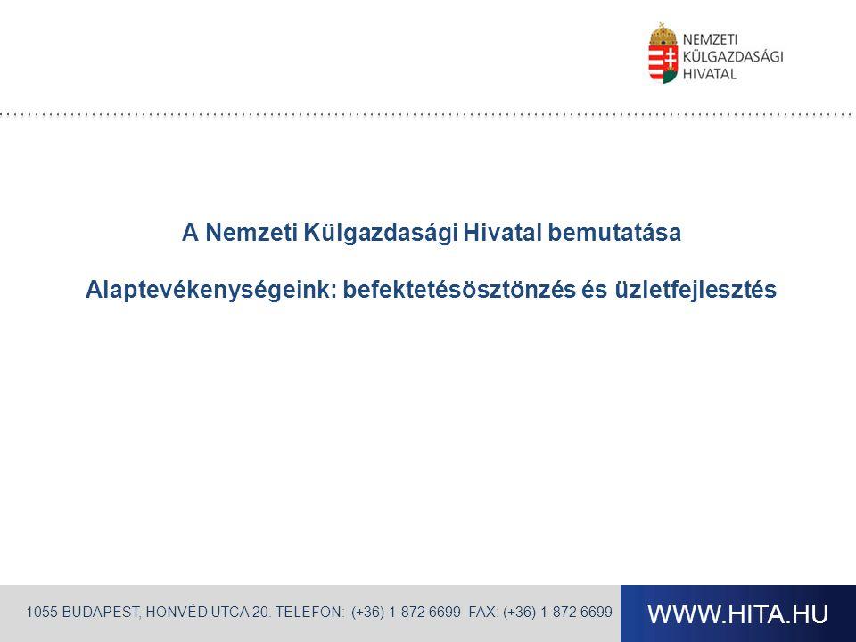 WWW.HITA.HU 1055 BUDAPEST, HONVÉD UTCA 20. TELEFON: (+36) 1 872 6699 FAX: (+36) 1 872 6699 A Nemzeti Külgazdasági Hivatal bemutatása Alaptevékenységei
