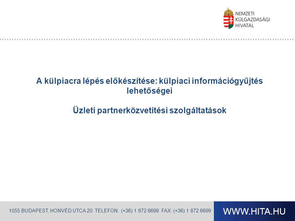 WWW.HITA.HU 1055 BUDAPEST, HONVÉD UTCA 20. TELEFON: (+36) 1 872 6699 FAX: (+36) 1 872 6699 A külpiacra lépés előkészítése: külpiaci információgyűjtés