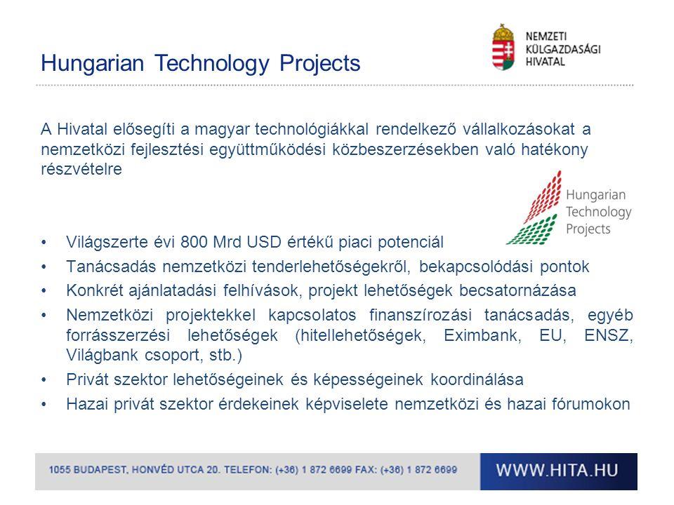 Hungarian Technology Projects A Hivatal elősegíti a magyar technológiákkal rendelkező vállalkozásokat a nemzetközi fejlesztési együttműködési közbeszerzésekben való hatékony részvételre Világszerte évi 800 Mrd USD értékű piaci potenciál Tanácsadás nemzetközi tenderlehetőségekről, bekapcsolódási pontok Konkrét ajánlatadási felhívások, projekt lehetőségek becsatornázása Nemzetközi projektekkel kapcsolatos finanszírozási tanácsadás, egyéb forrásszerzési lehetőségek (hitellehetőségek, Eximbank, EU, ENSZ, Világbank csoport, stb.) Privát szektor lehetőségeinek és képességeinek koordinálása Hazai privát szektor érdekeinek képviselete nemzetközi és hazai fórumokon