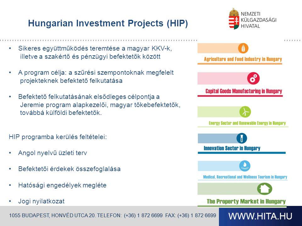 WWW.HITA.HU 1055 BUDAPEST, HONVÉD UTCA 20. TELEFON: (+36) 1 872 6699 FAX: (+36) 1 872 6699 Hungarian Investment Projects (HIP) Sikeres együttműködés t