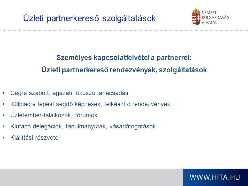 Üzleti partnerkereső szolgáltatások Személyes kapcsolatfelvétel a partnerrel: Üzleti partnerkereső rendezvények, szolgáltatások Cégre szabott, ágazati fókuszú tanácsadás Külpiacra lépést segítő képzések, felkészítő rendezvények Üzletember-találkozók, fórumok Kiutazó delegációk, tanulmányutak, vásárlátogatások Kiállítási részvétel