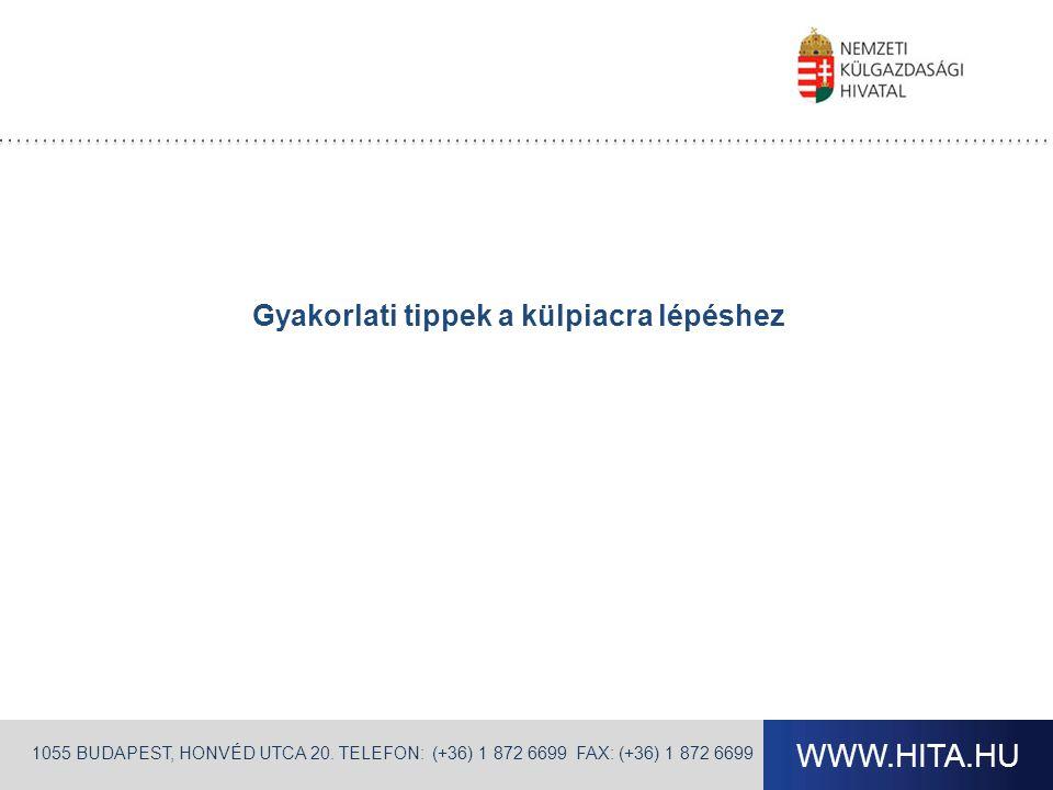 WWW.HITA.HU 1055 BUDAPEST, HONVÉD UTCA 20. TELEFON: (+36) 1 872 6699 FAX: (+36) 1 872 6699 Gyakorlati tippek a külpiacra lépéshez