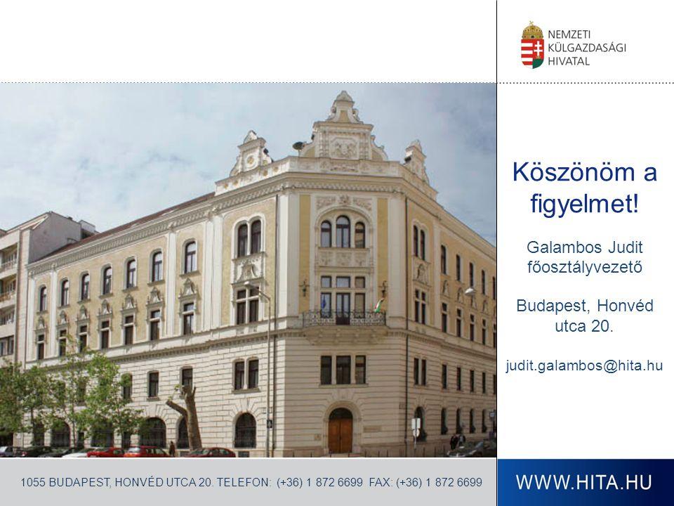 Köszönöm a figyelmet. Galambos Judit főosztályvezető Budapest, Honvéd utca 20.