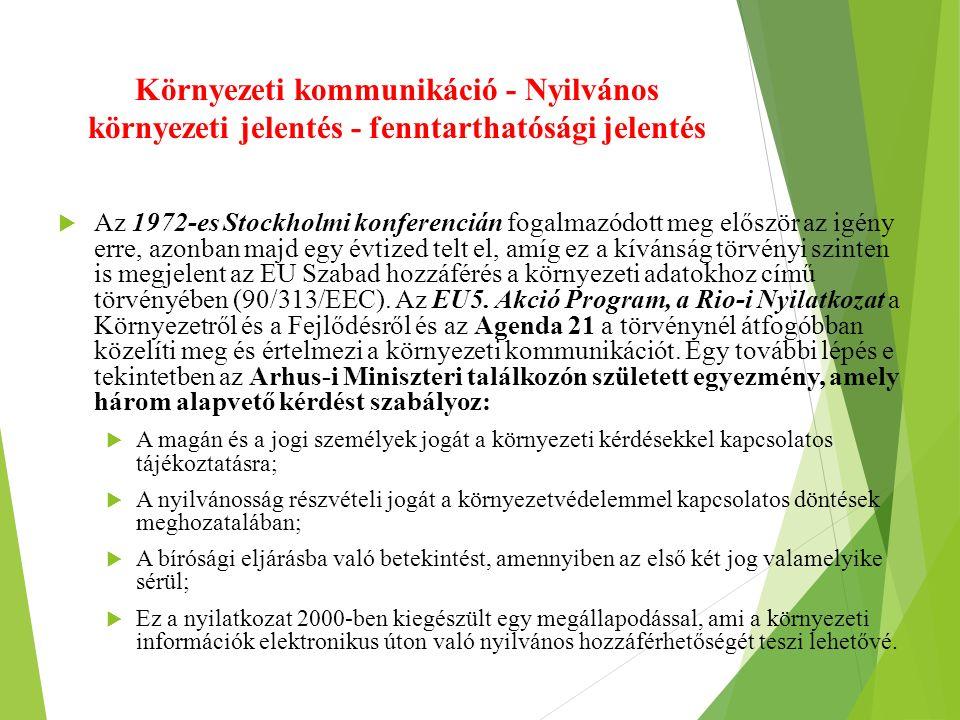 Környezeti kommunikáció - Nyilvános környezeti jelentés - fenntarthatósági jelentés  Az 1972-es Stockholmi konferencián fogalmazódott meg először az igény erre, azonban majd egy évtized telt el, amíg ez a kívánság törvényi szinten is megjelent az EU Szabad hozzáférés a környezeti adatokhoz című törvényében (90/313/EEC).