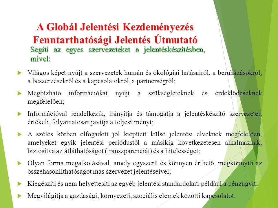 A Globál Jelentési Kezdeményezés Fenntarthatósági Jelentés Útmutató  Világos képet nyújt a szervezetek humán és ökológiai hatásairól, a beruházásokró