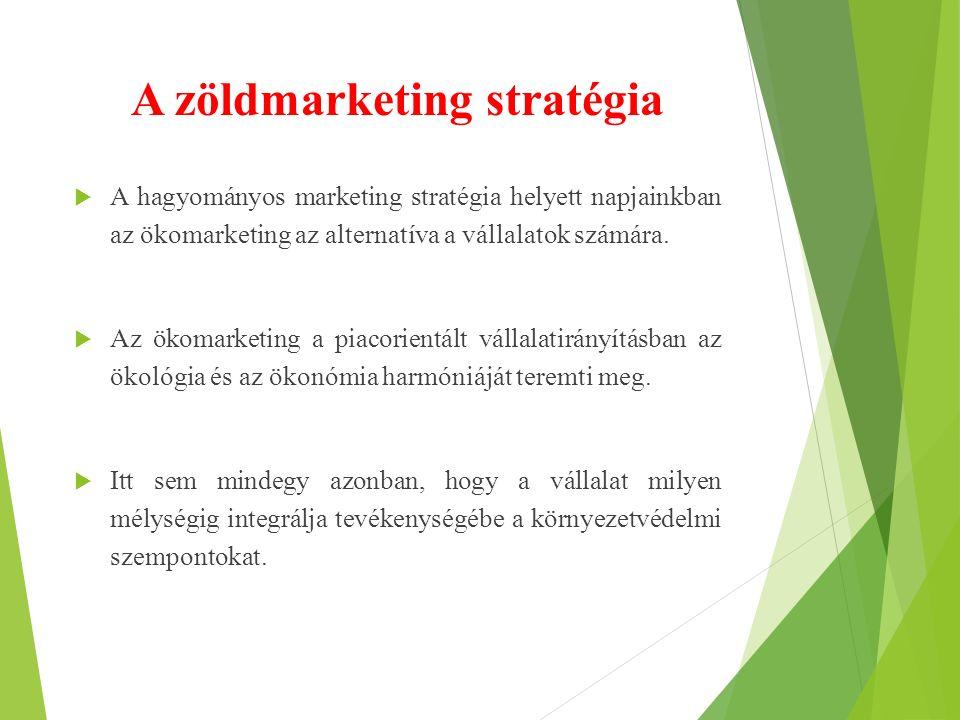 A zöldmarketing stratégia  A hagyományos marketing stratégia helyett napjainkban az ökomarketing az alternatíva a vállalatok számára.  Az ökomarketi