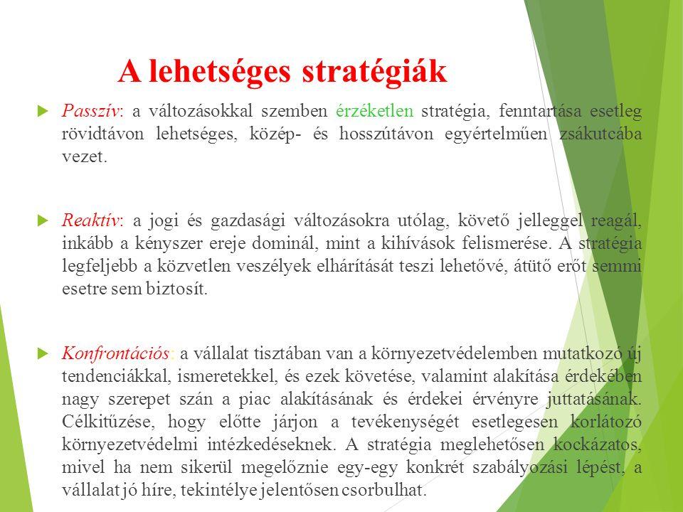 A lehetséges stratégiák  Passzív: a változásokkal szemben érzéketlen stratégia, fenntartása esetleg rövidtávon lehetséges, közép- és hosszútávon egy