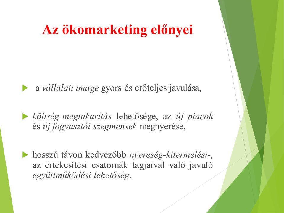 Az ökomarketing előnyei  a vállalati image gyors és erőteljes javulása,  költség-megtakarítás lehetősége, az új piacok és új fogyasztói szegmensek m
