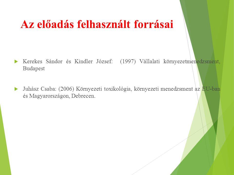 Az előadás felhasznált forrásai  Kerekes Sándor és Kindler József: (1997) Vállalati környezetmenedzsment, Budapest  Juhász Csaba: (2006) Környezeti toxikológia, környezeti menedzsment az EU-ban és Magyarországon, Debrecen.