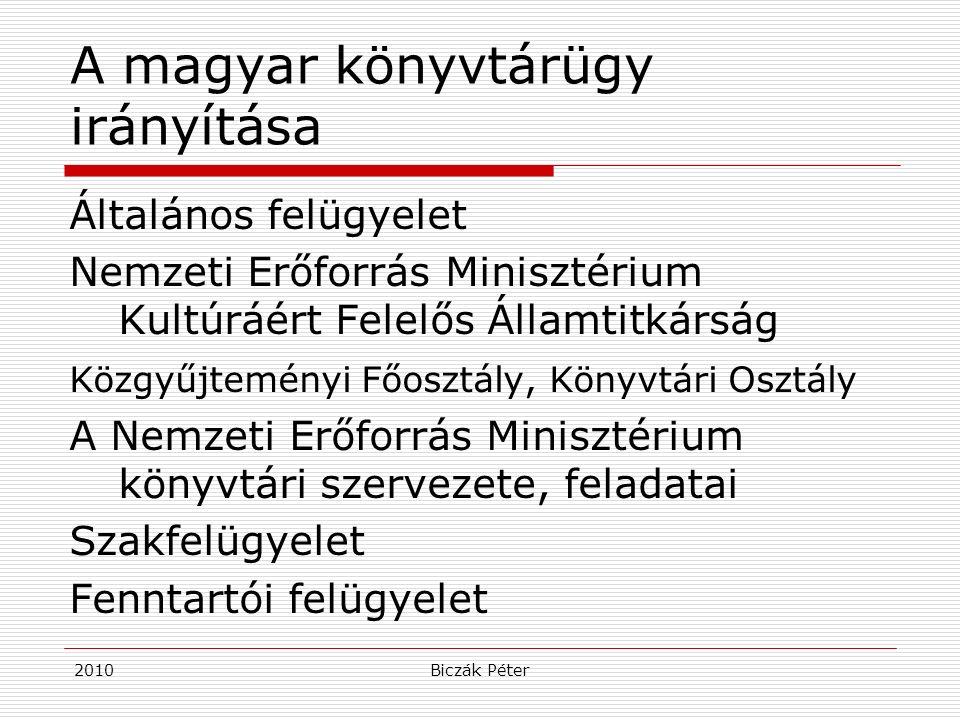 2010Biczák Péter A magyar könyvtárügy irányítása Általános felügyelet Nemzeti Erőforrás Minisztérium Kultúráért Felelős Államtitkárság Közgyűjteményi