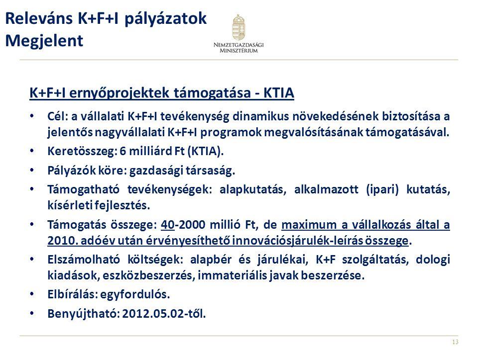 13 K+F+I ernyőprojektek támogatása - KTIA Cél: a vállalati K+F+I tevékenység dinamikus növekedésének biztosítása a jelentős nagyvállalati K+F+I programok megvalósításának támogatásával.