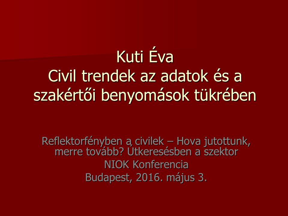 Kuti Éva Civil trendek az adatok és a szakértői benyomások tükrében Reflektorfényben a civilek – Hova jutottunk, merre tovább.