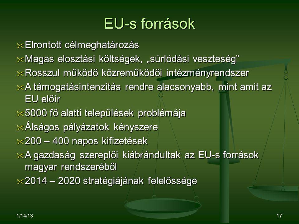 """EU-s források  Elrontott célmeghatározás  Magas elosztási költségek, """"súrlódási veszteség""""  Rosszul működő közreműködői intézményrendszer  A támog"""
