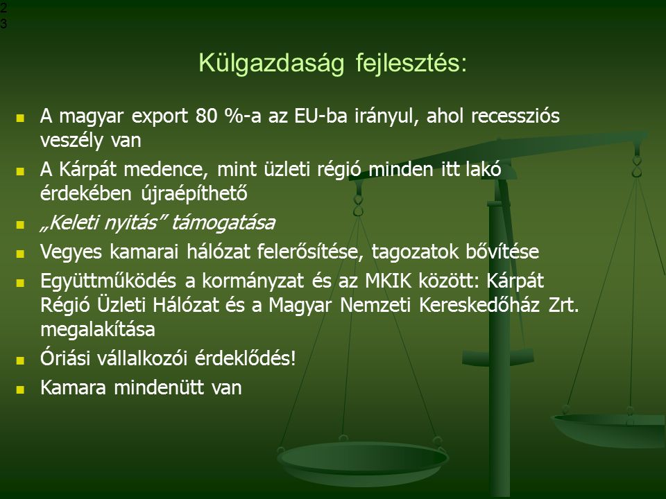 Külgazdaság fejlesztés: A magyar export 80 %-a az EU-ba irányul, ahol recessziós veszély van A Kárpát medence, mint üzleti régió minden itt lakó érdek