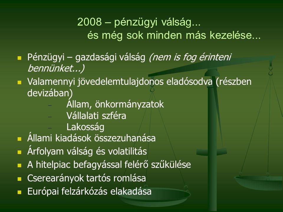 2008 – pénzügyi válság... és még sok minden más kezelése... Pénzügyi – gazdasági válság (nem is fog érinteni bennünket...) Valamennyi jövedelemtulajdo